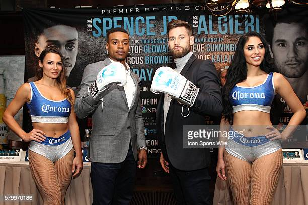 Errol Spence Jr and Chris Algieri pose for members of the media during their press conference about their April 16th PBC on NBC boxing event to be...