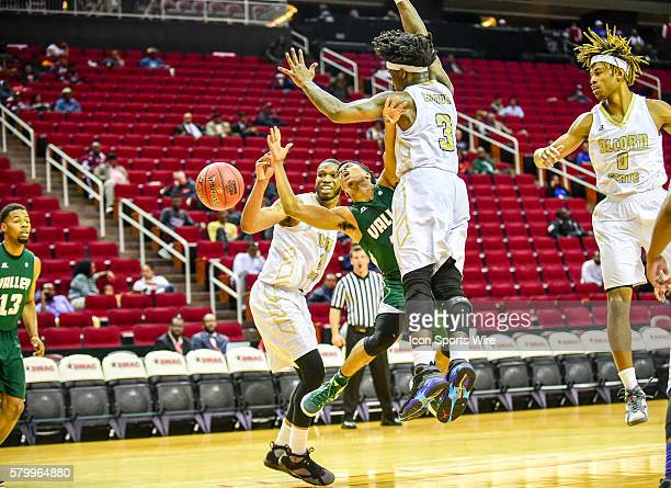 Mississippi Valley State Delta Devils guard Kylan Phillips is fouled by Alcorn State Braves guard Tamarcio Wilson during the 2016 SWAC Men's...