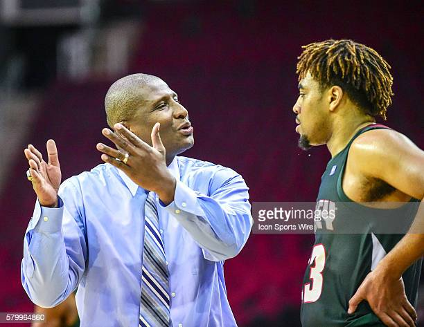 Mississippi Valley State Delta Devils head coach Andre Payne talks to Mississippi Valley State Delta Devils center Latrell Love during the 2016 SWAC...