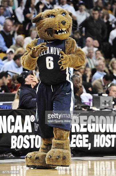 The Villanova Mascot gets the crowd fired up during the Villanova game against Duke at the TD Bank North Garden in Boston MA