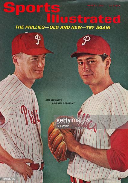 March 1 1965 Sports Illustrated via Getty Images Cover Baseball Portrait of Philadelphia Phillies pitchers Jim Bunning and Bo Belinsky during photo...
