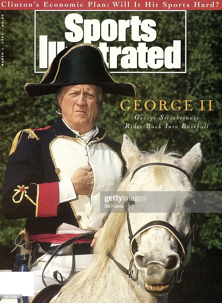 Unusual closeup portrait of New York Yankees owner George Steinbrenner on horse and wearing Napoleon costume at home. Return to MLB after lifetime ban lifted. Tampa, FL 2/15/1993