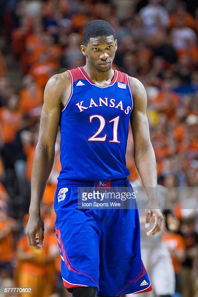 Kansas Jayhawks center Joel Embiid during the NCAA basketball Big 12 Conference game between the Kansas Jayhawks and the Oklahoma State Cowboys at...