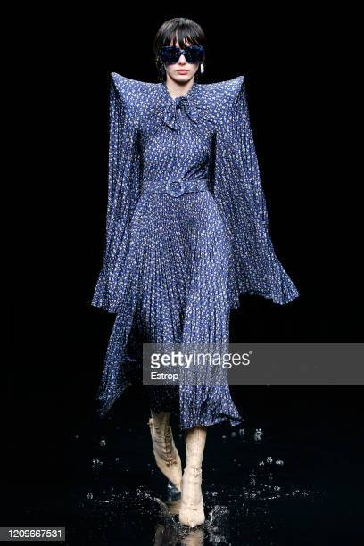 A model walks the runway during the Balenciaga as part of the Paris Fashion Week Womenswear Fall/Winter 2020/2021 on March 1 2020 in Paris France