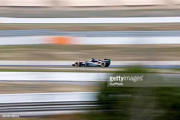 Checo Perez and Force India on the tests of Formula 1 held at the Circuit de Catalunya Barcelona on march 1 2015 Photo Joan...