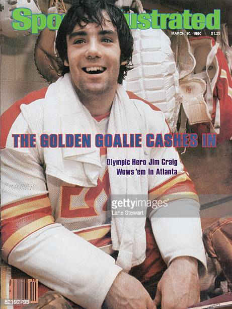 March 10 1980 Sports Illustrated via Getty Images Cover Hockey Closeup of Atlanta Flames goalie Jim Craig in locker room after winning game vs...