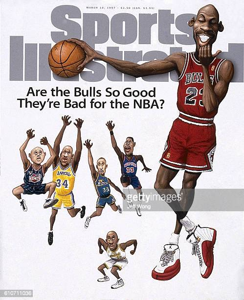 Basketball Cartoon illustration of Chicago Bulls Michael Jordan holding ball above the heads of Houston Rockets Charles Barkley Los Angeles Lakers...