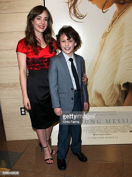 March 10 2016 Actress Sara Lazzaro and actor Adam GreavesNeal arrive for the LA Premiere of The Young Messiah at the Cinemark Playa Vista in Los...