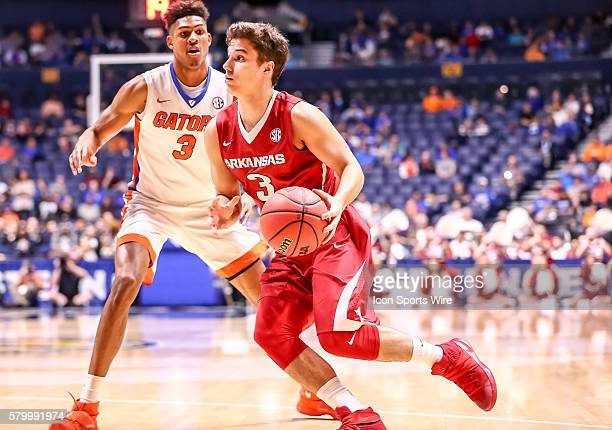 Arkansas Razorbacks guard Dusty Hannahs in action during the SEC Men's Basketball Championship Tournament game between Florida and Arkansas Florida...