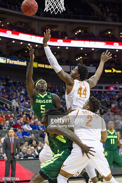 Baylor Bears forward Johnathan Motley puts up a shot during the NCAA Big 12 conference mens basketball tournament game between the Baylor Bears and...