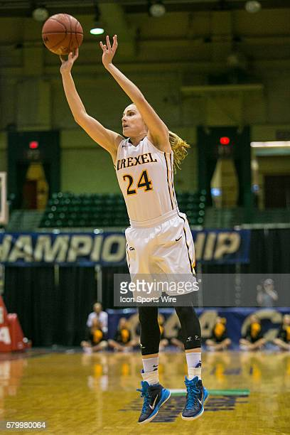 Drexel Lady Dragons guard Rachel Pearson shots a three pointer during the game between Towson Tigers vs Drexel Dragons at Showplace Arena in Upper...