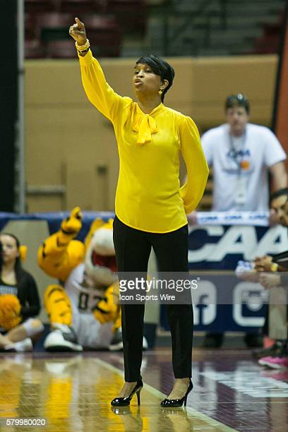 Towson Tigers head coach Niki Reid Geckeler during the game between Towson Tigers vs Drexel Dragons at Showplace Arena in Upper Marlboro MD