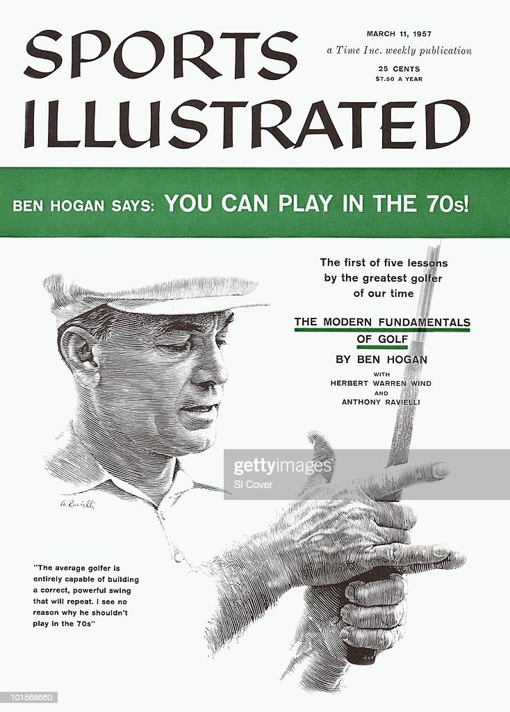 Illustration of Ben Hogan giving golf tips, painting by Art Department. New York, NY 1/1/1957--3/11/1957