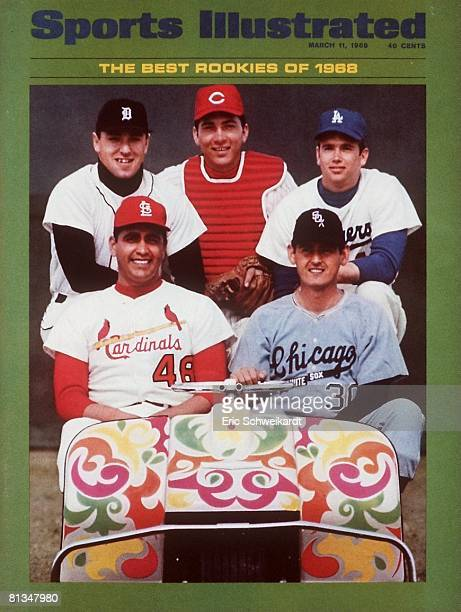 March 11 1968 Sports Illustrated Cover Baseball MLB Rookies Top Row Detroit Tigers Don Pepper Cincinnati Reds Johnny Bench and Los Angeles Dodgers...