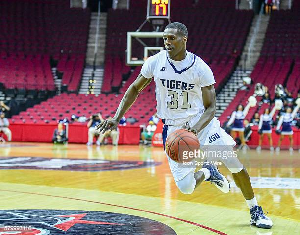 Jackson State Tigers guard Dontaveon Robinson drives to the basket during the 2016 SWAC Men's Basketball Tournament featuring the Mississippi Valley...