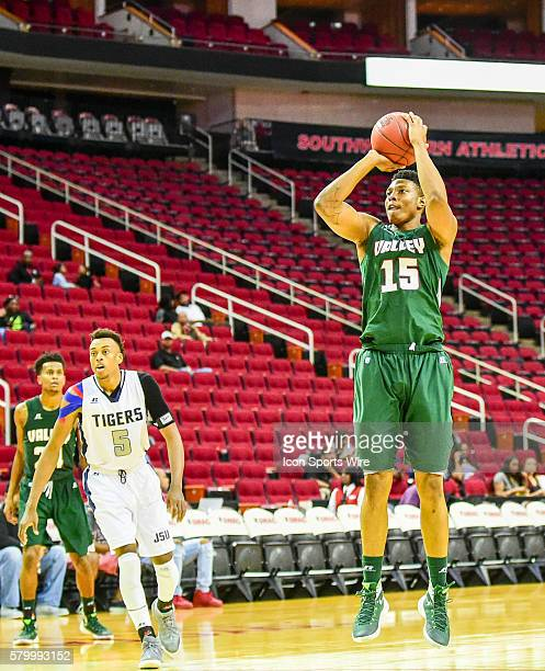 Mississippi Valley State Delta Devils forward Dwain Whitfield takes a jumper from the top of the key during the 2016 SWAC Men's Basketball Tournament...
