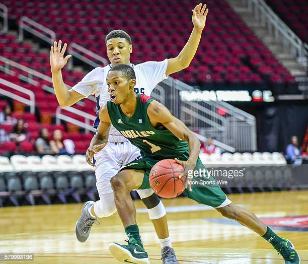 Mississippi Valley State Delta Devils guard Marcus Romain drives hard to the basket during the 2016 SWAC Men's Basketball Tournament featuring the...