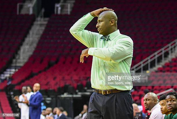 Mississippi Valley State Delta Devils head coach Andre Payne shows his displeasure for a call during the 2016 SWAC Men's Basketball Tournament...