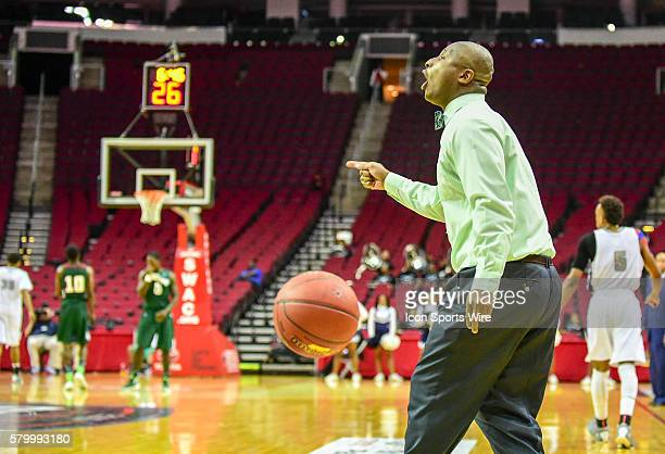 Mississippi Valley State Delta Devils head coach Andre Payne shouts instructions to his team during the 2016 SWAC Men's Basketball Tournament...