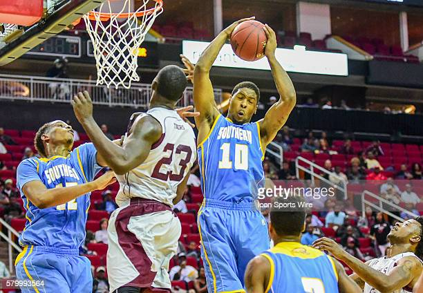 Southern Jaguars forward Shawn Prudhomme grabs a huge first half rebound during the 2016 SWAC Men's Basketball Tournament featuring the Texas...