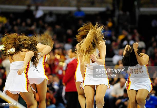 USC song girls perform during a Pac10 tournament basketball game between the USC Trojans and the Cal Golden Bears played at the Staples center in Los...