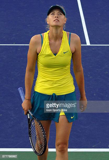 Maria Sharapova during a match against Vera Dushevina during the BNP Paribas Open played at the Indian Wells Tennis Garden