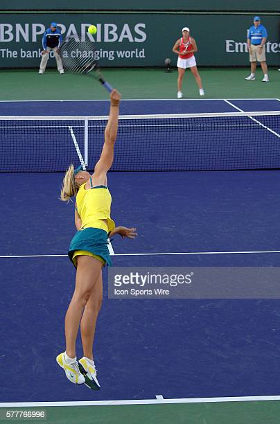 Maria Sharapova serving to Vera Dushevina during the BNP Paribas Open played at the Indian Wells Tennis Garden