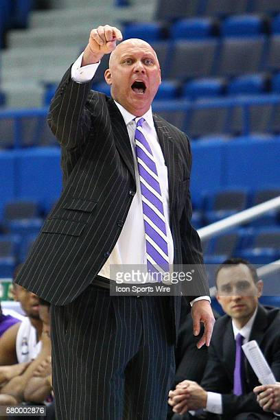 East Carolina's Head Coach Jeff Lebo during the American Athletic Conference men's championship first round game between the UCF Knights and the East...