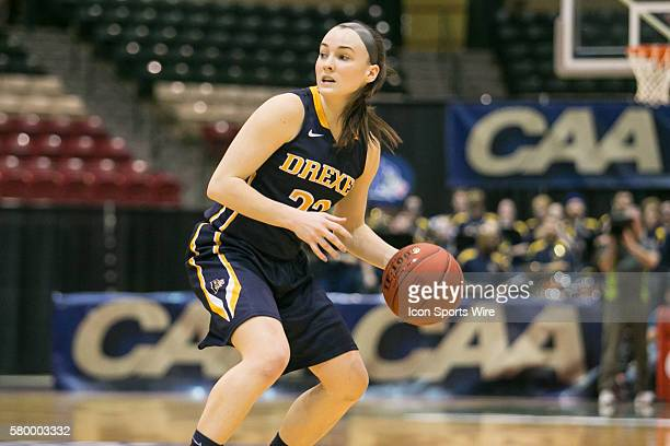 Drexel Lady Dragons guard Meghan Creighton looks to pass the ball during the CAA Women Championship game between Drexel Dragons vs James Madison...