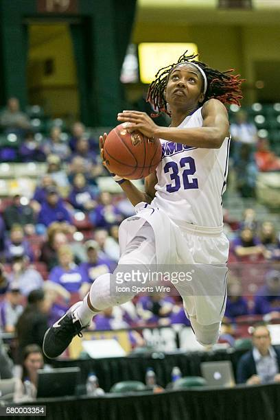 James Madison Dukes guard Angela Mickens attempts a layup during the CAA Women Championship game between Drexel Dragons vs James Madison Dukes at...