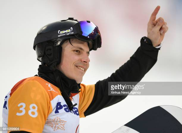 Matti SuurHamari from Finland celebrates during the awarding ceremony for the Men's Snowboard Cross SBLL2 event of the 2018 PyeongChang Winter...