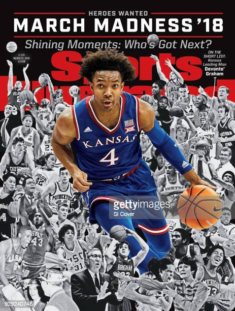 March 12, 2018 Sports Illustrated via Getty Images Cover: College Basketball: March Madness Preview: Kansas Devonte' Graham in action vs TCU at...