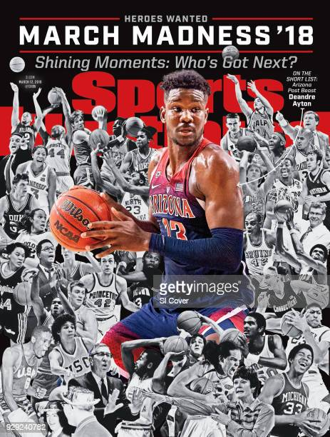 March 12 2018 Sports Illustrated via Getty Images Cover March Madness Preview Arizona Deandre Ayton in action vs Arizona State Romello White at Wells...