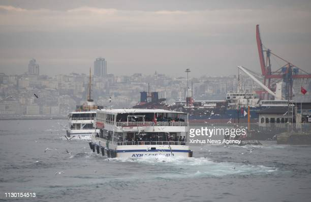 ISTANBUL March 12 2019 Vessels are seen in the Bosphorus Strait Istanbul Turkey on Jan 21 2019 The Turkish authorities imposed a record amount of...