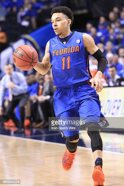 Florida Gators guard Chris Chiozza during the Kentucky Wildcats versus the Florida Gators in the 2015 SEC Men's Basketball Tournament at Bridgestone...