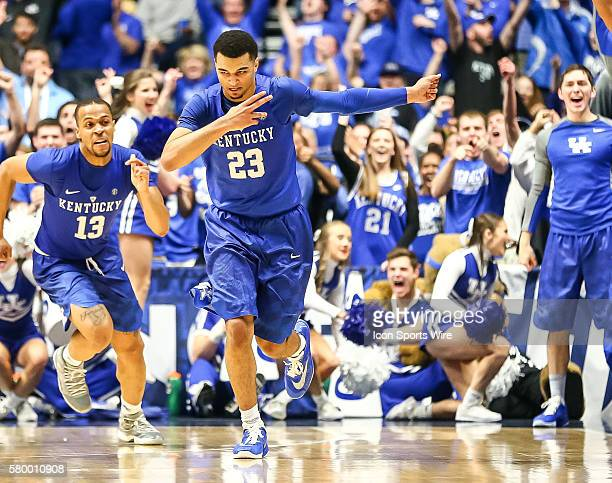 Kentucky Wildcats guard Jamal Murray scores a 3 pointer during the 2016 SEC Basketball Championship Tournament final game between Kentucky and Texas...