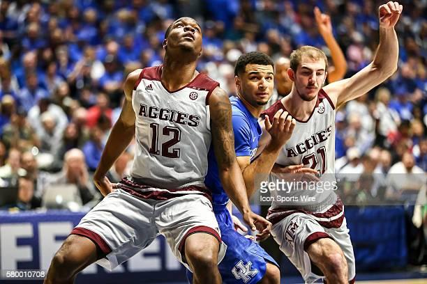Texas AM Aggies guard Jalen Jones and Texas AM Aggies guard Alex Caruso box out Kentucky Wildcats guard Jamal Murray during the 2016 SEC Basketball...