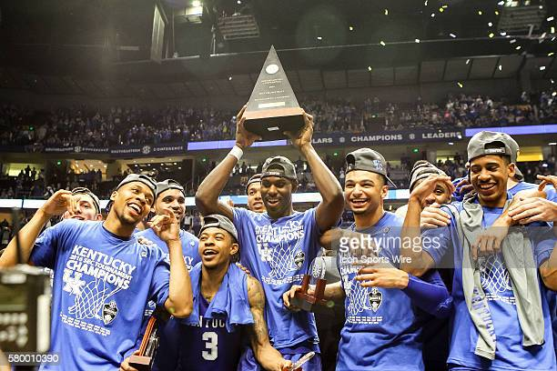 The tournament trophy awarded after the 2016 SEC Basketball Championship Tournament Final game between Kentucky and Texas AM Kentucky defeated Texas...