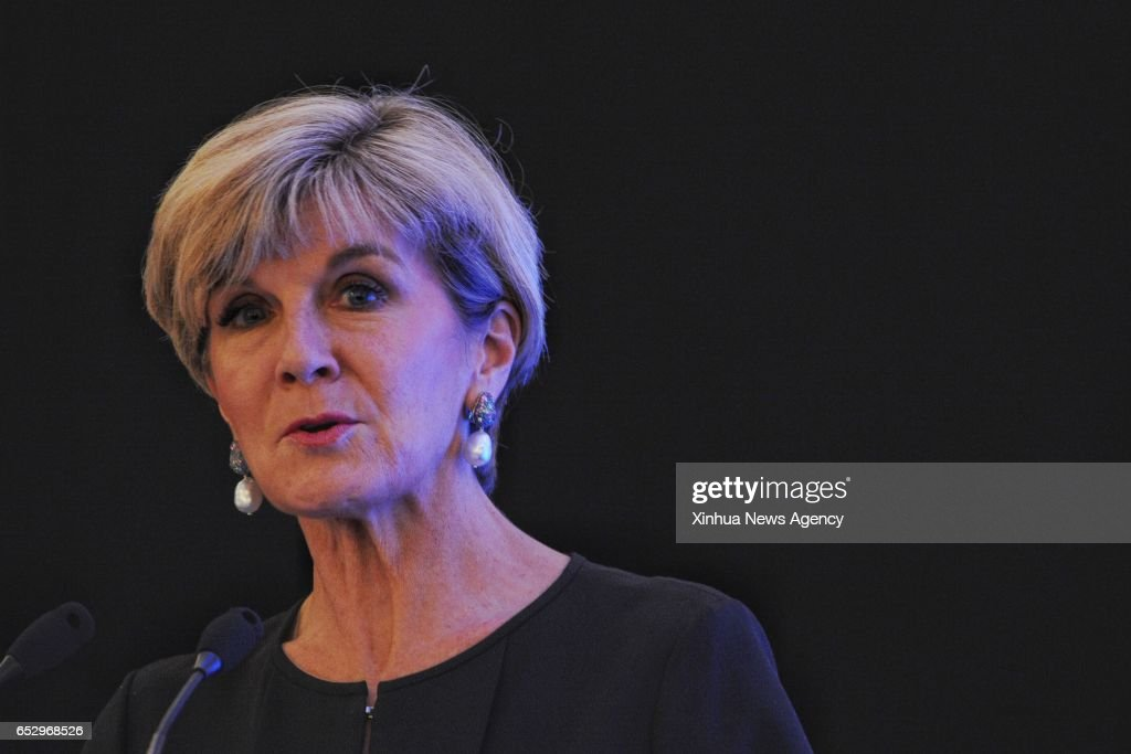 SINGAPORE, March 13, 2017 -- Australia's Foreign Minister Julie Bishop speaks during the Fullerton Lecture held in Singapore on March 13, 2017.