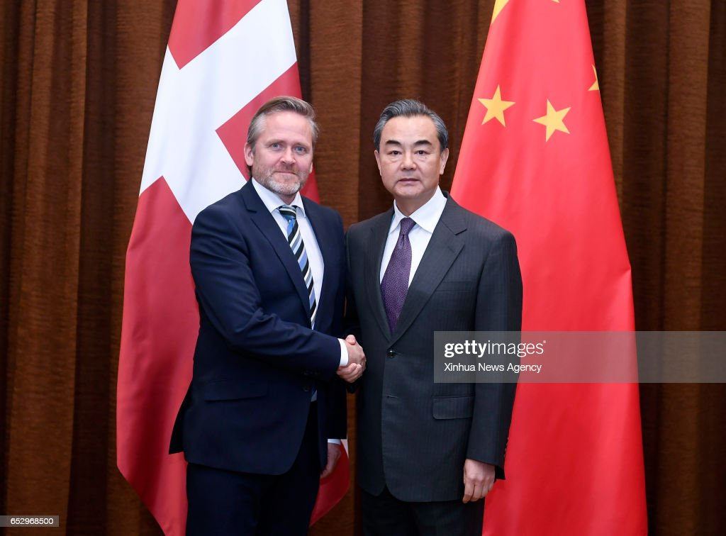 BEIJING, March 13, 2017 -- Chinese Foreign Minister Wang Yi (R) holds talks with Danish Minister for Foreign Affairs Anders Samuelsen in Beijing, capital of China, March 13, 2017.