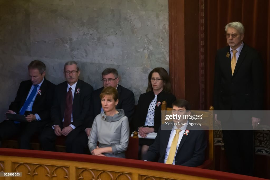 BUDAPEST, March 13, 2017 -- Hungary's President Janos Ader (R front) attend the presidential election at the Hungarian Parliament in Budapest, Hungary, on March 13, 2017. Hungary's parliament re-elected Janos Ader as the country's president for a new five-year term on Monday, winning over law professor Laszlo Majtenyi in a vote split along party lines.