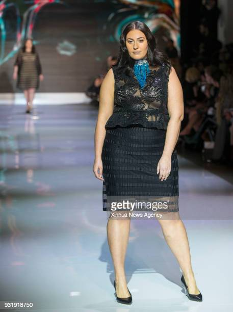 TORONTO March 13 2018 A model presents a creation by Lesley Hampton during the Toronto Women's Fashion Week 2018 Fall/Winter in Toronto Canada March...