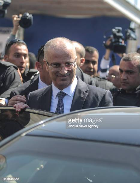 GAZA March 13 2018 Palestinian Prime Minister Rami Hamdallah arrives in Gaza City on March 13 2018 An explosive went off Tuesday morning near the...