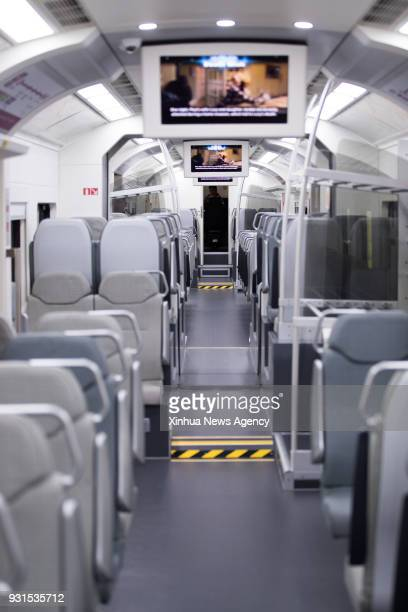 March 13 2018 Photo taken on March 13 2018 shows a view of the inside of the new KLIA Ekspres train at the Kuala Lumpur International Airport in...