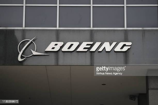 CHICAGO March 13 2019 Photo taken on March 13 2019 shows the Boeing logo at its headquarters in downtown Chicago the United States US aircraft...
