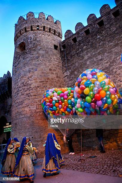 March 13 Twin Gates Old City Baku Azerbaijan The streets of Bakus inner city are decorated in preparation for the Novruz festivities Women in...