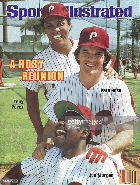 March 14 1983 Sports Illustrated Cover Baseball Portrait of Philadelphia Phillies Tony Perez Pete Rose and Joe Morgan during spring training at...