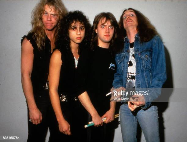 March 14, 1985 - Metallica poses backstage before the band's first major headline concert appearance on March 14, 1985 at the Kabuki Theater in San...