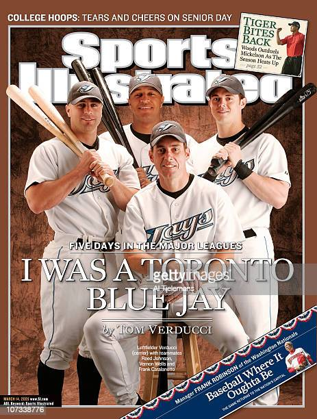 March 14 2005 Sports Illustrated via Getty Images Cover Baseball Portrait of SI Senior Writer Tom Verducci and Toronto Blue Jays Reed Johnson Vernon...