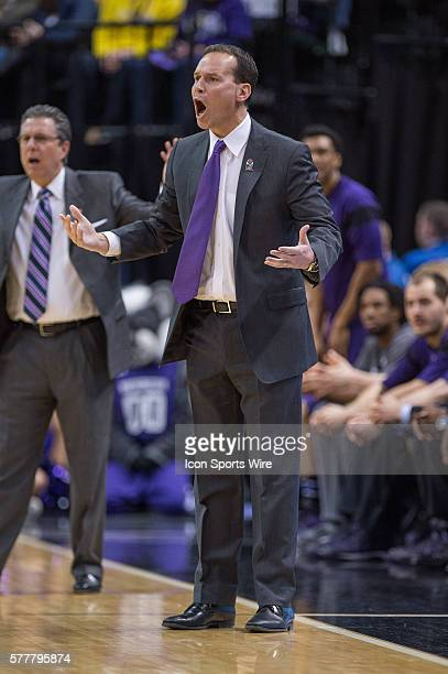 Northwestern Wildcats head coach Chris Collins during the Big Ten Men's Basketball Tournament game between the Michigan State Spartans vs...